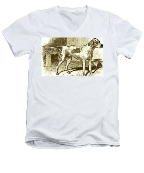 Men's V-Neck T-Shirt featuring the painting Vintage Sepia German Shorthaired Pointer by Marian Cates