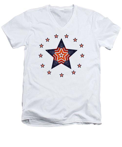 Vintage Us Fag Star Men's V-Neck T-Shirt