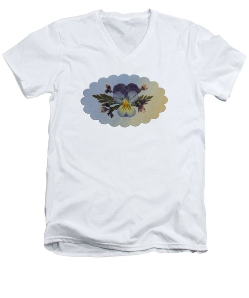 Viola Pressed Flower Arrangement Men's V-Neck T-Shirt
