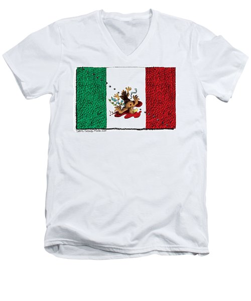 Men's V-Neck T-Shirt featuring the drawing Violence In Mexico by Daryl Cagle