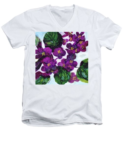 Violets Men's V-Neck T-Shirt by Julie Maas