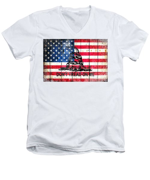 Viper On American Flag On Old Wood Planks Men's V-Neck T-Shirt by M L C
