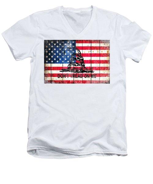 Viper On American Flag On Old Wood Planks Men's V-Neck T-Shirt
