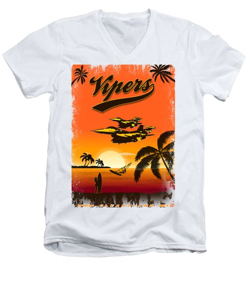 Vipers  F16 Men's V-Neck T-Shirt by Clear II land Net