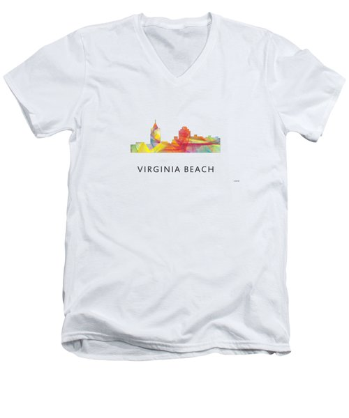 Virginia Beach  Virginia Skyline Men's V-Neck T-Shirt by Marlene Watson