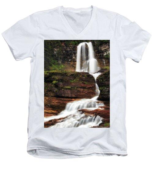 Virginia Falls Glacier National Park Men's V-Neck T-Shirt