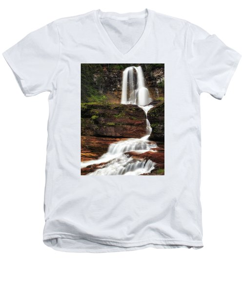 Virginia Falls Glacier National Park Men's V-Neck T-Shirt