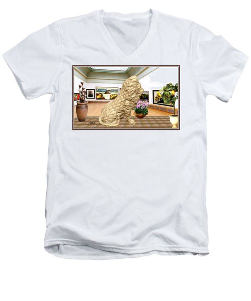 Virtual Exhibition - Statue Of A Lion Men's V-Neck T-Shirt by Pemaro