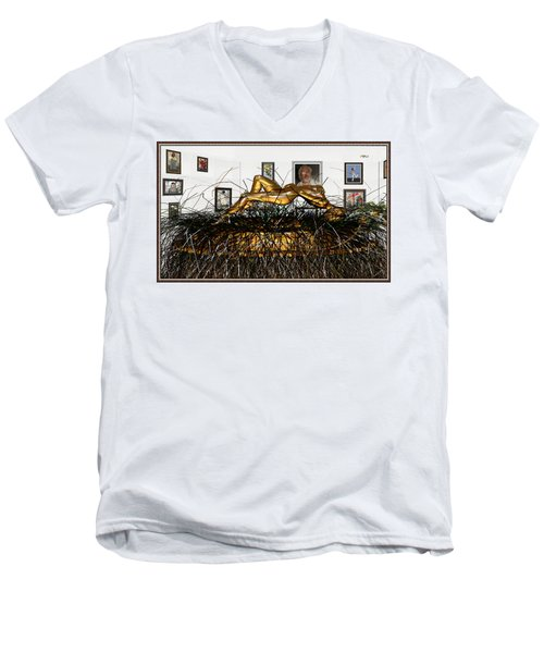 Men's V-Neck T-Shirt featuring the mixed media Virtual Exhibition With Birthday Cake by Pemaro