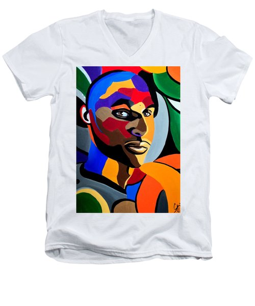 Visionaire, Abstract Male Face Portrait Painting - Illusion Abstract Artwork - Chromatic Men's V-Neck T-Shirt
