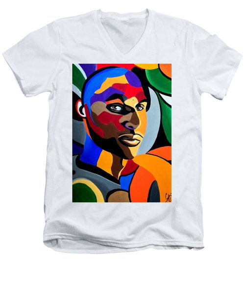 Visionaire - Male Abstract Portrait Painting - Abstract Art Print Men's V-Neck T-Shirt