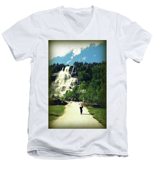 Visit To Tvindefossen Falls Men's V-Neck T-Shirt