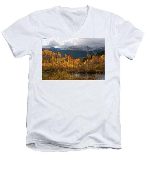 Vivid Autumn Aspen And Mountain Landscape Men's V-Neck T-Shirt