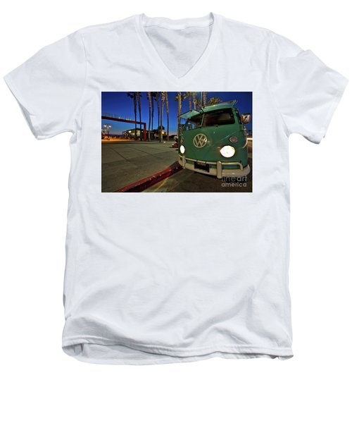 Volkswagen Bus At The Imperial Beach Pier Men's V-Neck T-Shirt by Sam Antonio Photography