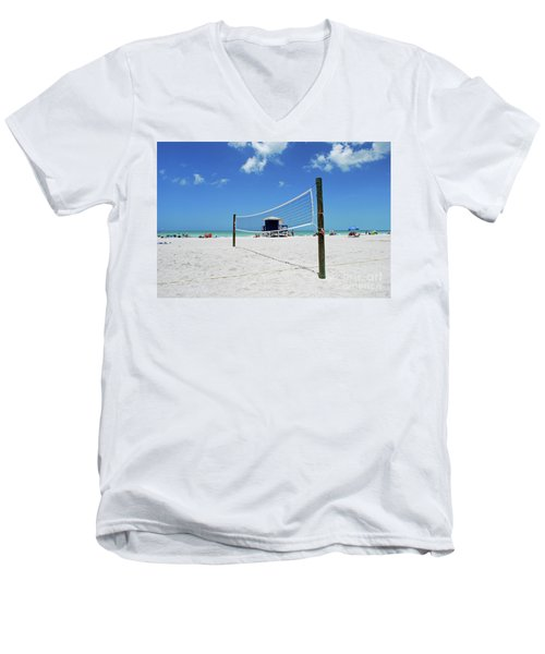 Men's V-Neck T-Shirt featuring the photograph Volley Ball On The Beach by Gary Wonning