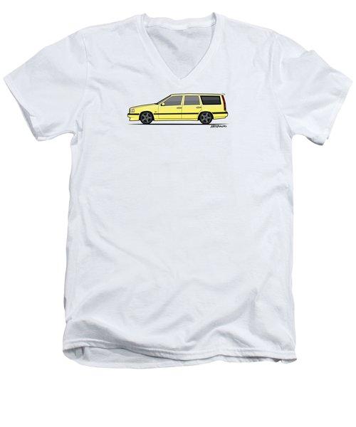 Volvo 850r 855r T5-r Swedish Turbo Wagon Cream Yellow Men's V-Neck T-Shirt by Monkey Crisis On Mars