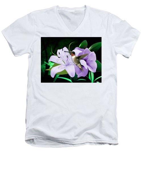 Men's V-Neck T-Shirt featuring the mixed media Voyage Hummingbird by Marvin Blaine