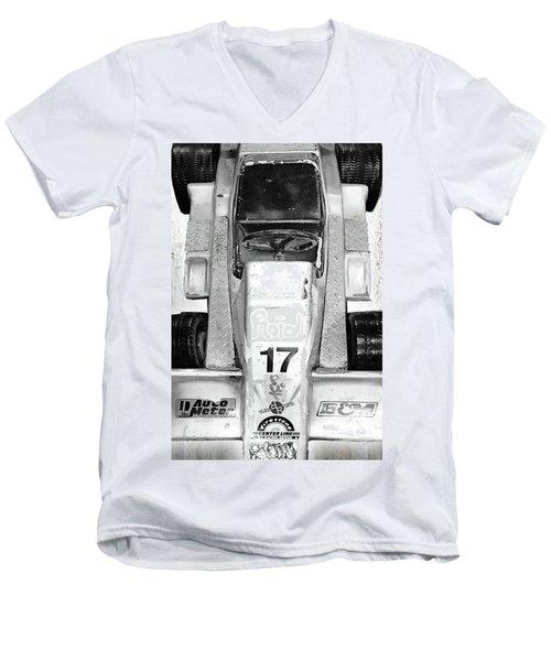 Men's V-Neck T-Shirt featuring the mixed media Vroom by Tony Rubino