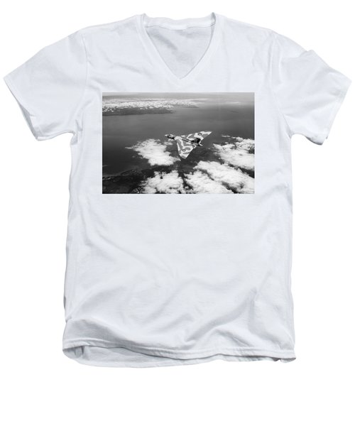 Vulcan Over South Wales Black And White Men's V-Neck T-Shirt