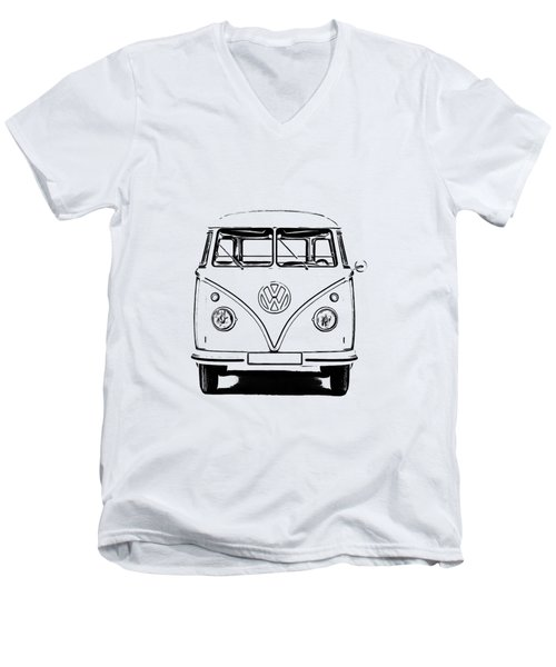 Vw Bus T-shirt Men's V-Neck T-Shirt by Edward Fielding