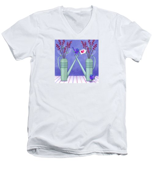 W Is For Watering Cans And Wonderful Wrens Men's V-Neck T-Shirt