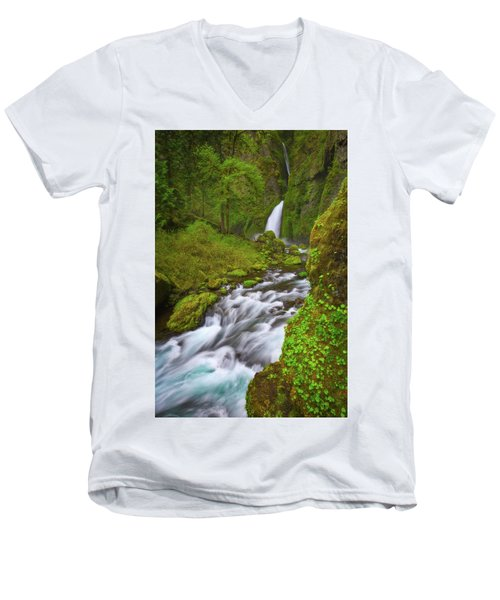 Men's V-Neck T-Shirt featuring the photograph Wahclella Falls by Darren White