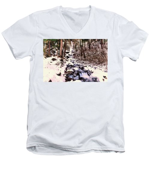 Men's V-Neck T-Shirt featuring the photograph Wahkeena Falls In Ice by Jeff Swan