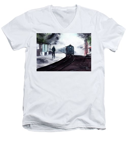 Men's V-Neck T-Shirt featuring the painting Waiting by Anil Nene