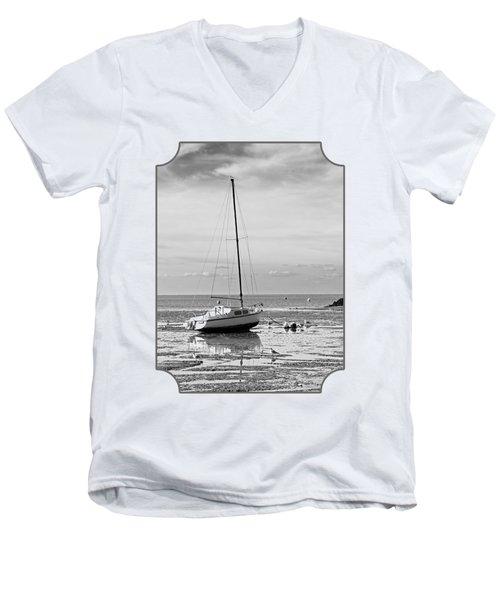 Waiting For High Tide Black And White Men's V-Neck T-Shirt by Gill Billington