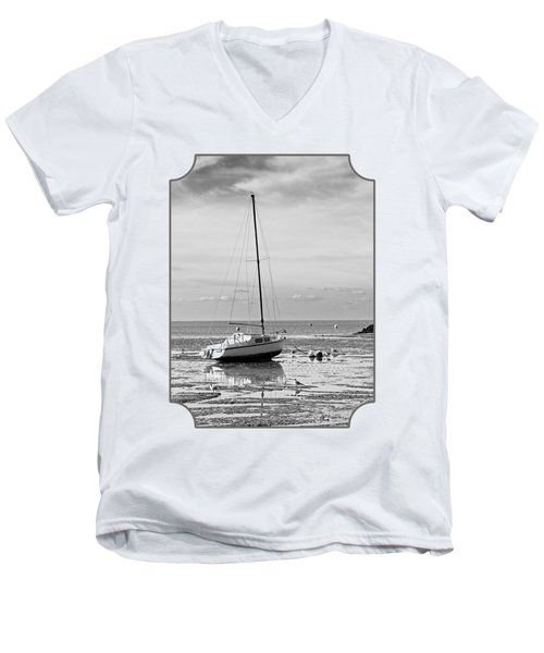 Waiting For High Tide Black And White Men's V-Neck T-Shirt