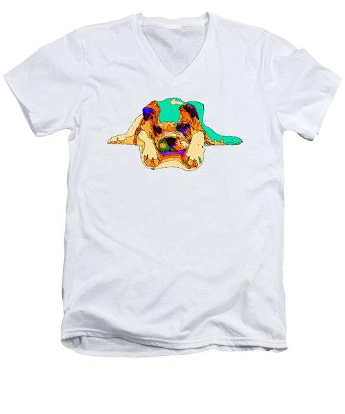 Waiting For You. Dog Series Men's V-Neck T-Shirt