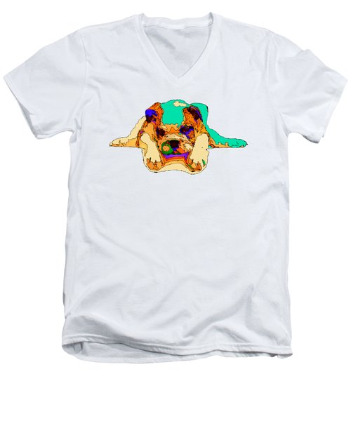 Waiting For You. Dog Series Men's V-Neck T-Shirt