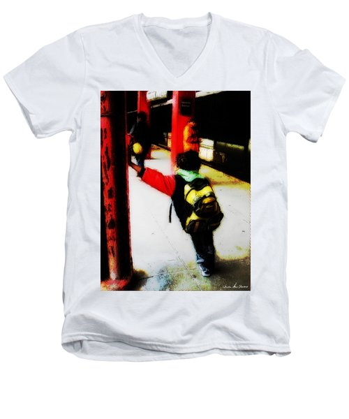 Waiting On The Q Train In Flatbush Men's V-Neck T-Shirt by Iowan Stone-Flowers