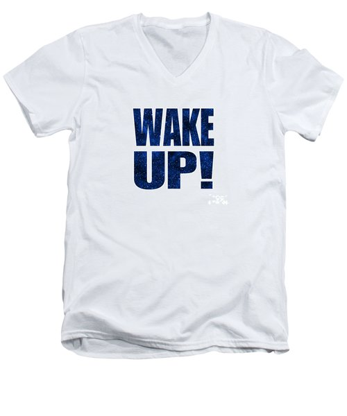 Men's V-Neck T-Shirt featuring the digital art Wake Up White Background by Ginny Gaura