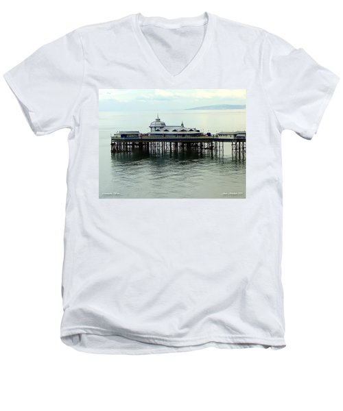Men's V-Neck T-Shirt featuring the photograph Wales Boardwalk by Joan  Minchak