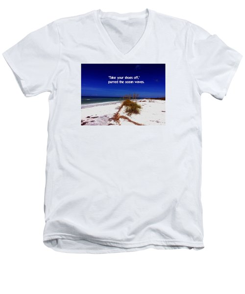 Walk In The Sand Men's V-Neck T-Shirt by Gary Wonning