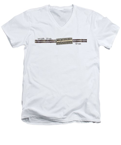 Walk The Line Men's V-Neck T-Shirt by Heather Applegate