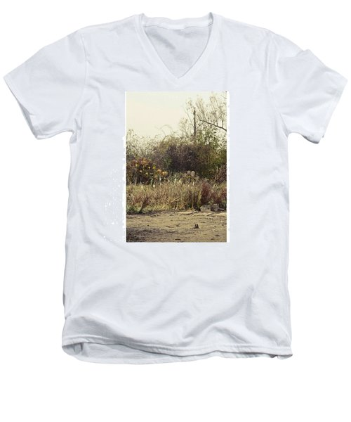 Walking By The Lake  #landscape #lake Men's V-Neck T-Shirt by Mandy Tabatt