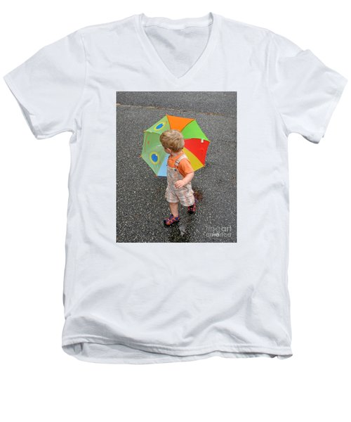 Men's V-Neck T-Shirt featuring the photograph Walking In The Rain by Sami Martin