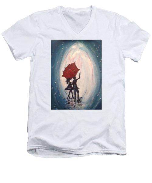 Walking In The Rain Men's V-Neck T-Shirt by Roxy Rich