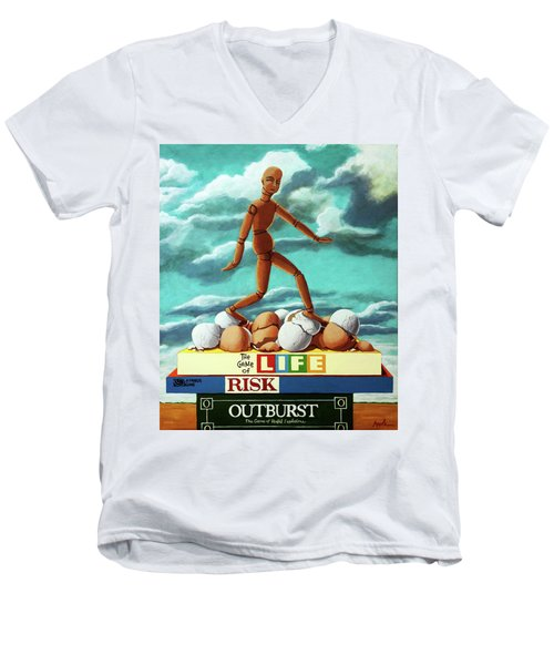 Walking On Eggshells Imaginative Realistic Painting Men's V-Neck T-Shirt by Linda Apple