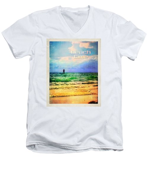 Beach Time Men's V-Neck T-Shirt by Tammy Wetzel