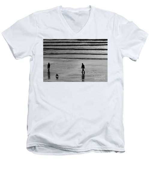 Men's V-Neck T-Shirt featuring the photograph Walking The Dog At Marazion by Brian Roscorla