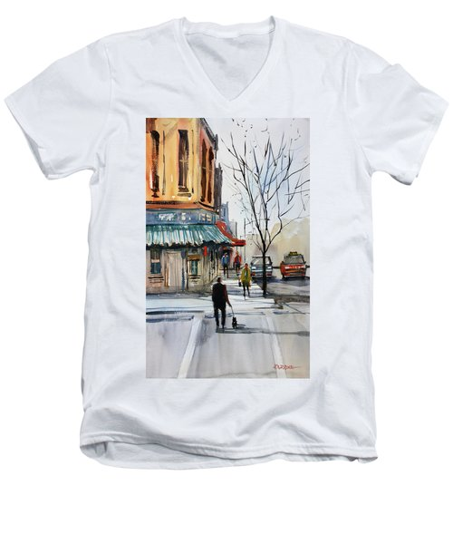 Walking The Dog Men's V-Neck T-Shirt