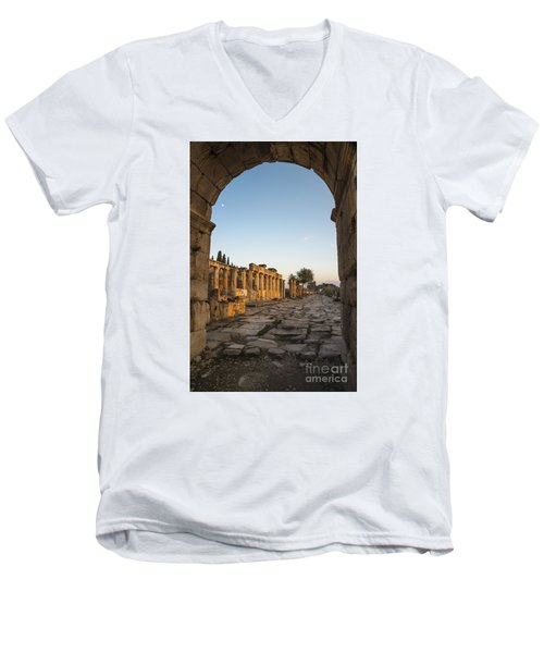 Walking The History In Hierapolis Men's V-Neck T-Shirt by Yuri Santin