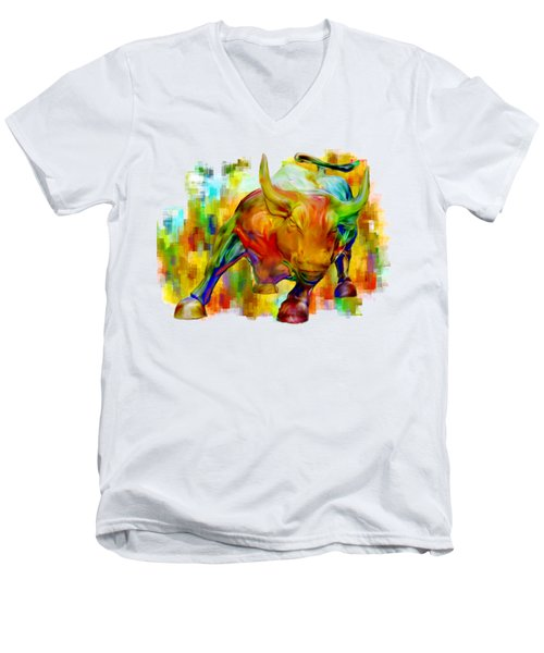 Wall Street Bull Men's V-Neck T-Shirt by Jack Zulli