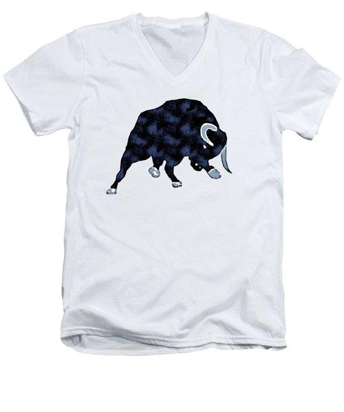 Wall Street Bull Market Series 1 T-shirt Men's V-Neck T-Shirt by Edward Fielding