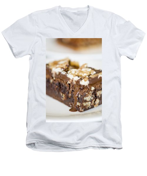Walnut Brownie On A White Plate Men's V-Neck T-Shirt by Ulrich Schade