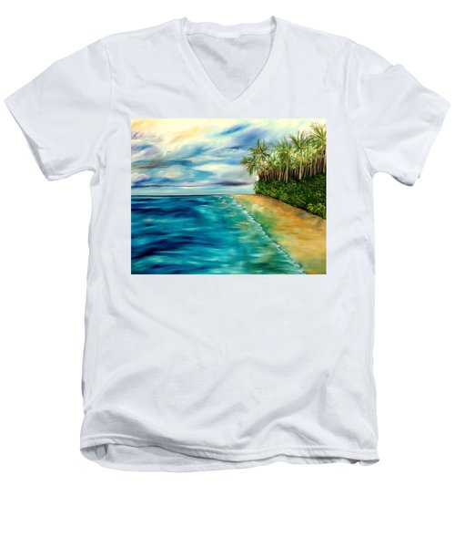 Wandering Through Turquoise Days Men's V-Neck T-Shirt by Lisa Aerts