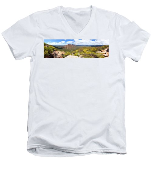 Wangara Hill Flinders Ranges South Australia Men's V-Neck T-Shirt by Bill Robinson